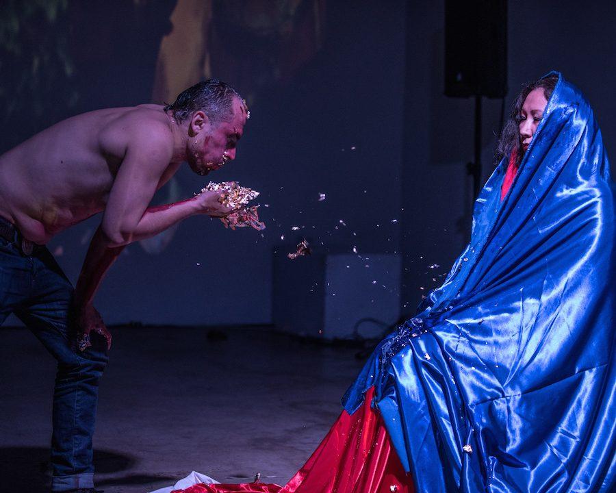 Theo Pelmus and Kristin Snowbird performance. Photo by Rennie Brown.